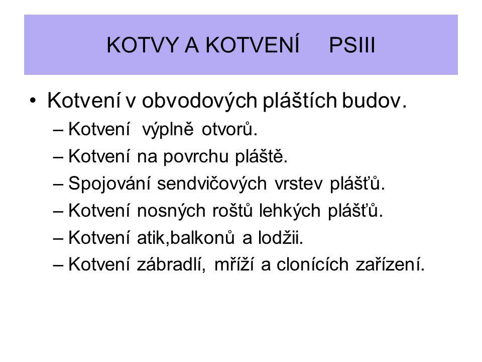 KOTVY A KOTVENÍ PSIII Kotvení v obvodových pláštích budov.