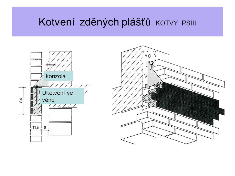 Kotvení zděných plášťů KOTVY PSIII konzola Ukotvení ve věnci