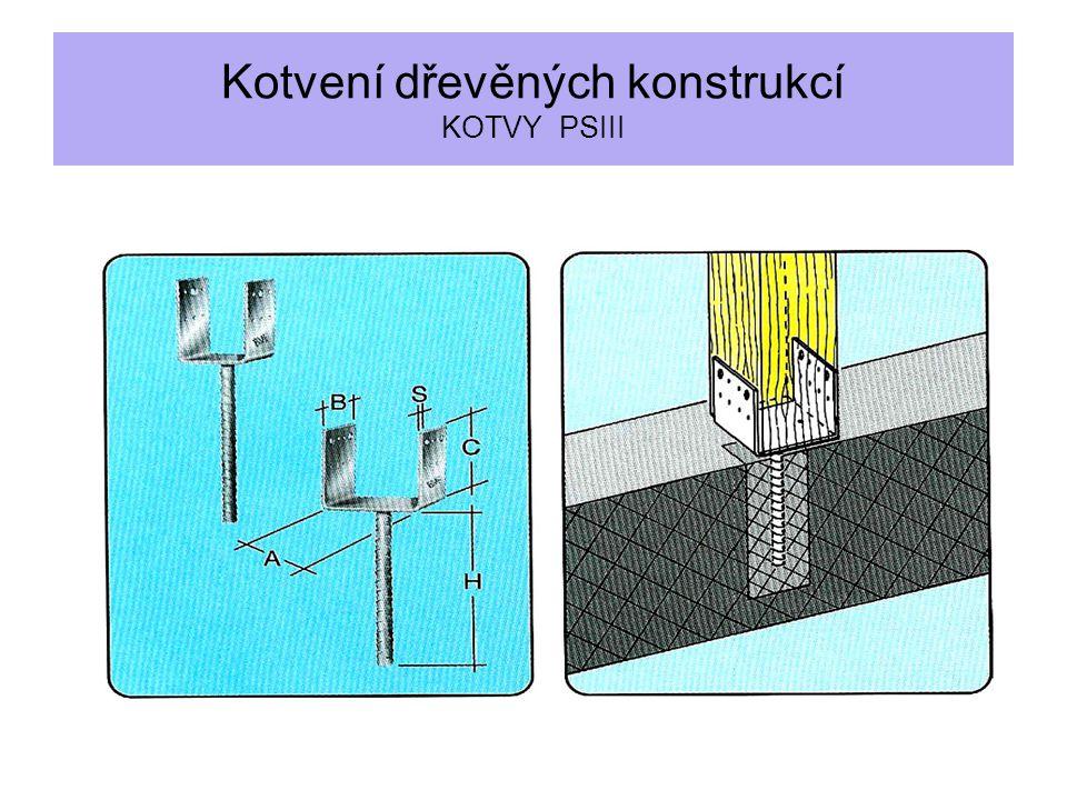Kotvení dřevěných konstrukcí KOTVY PSIII
