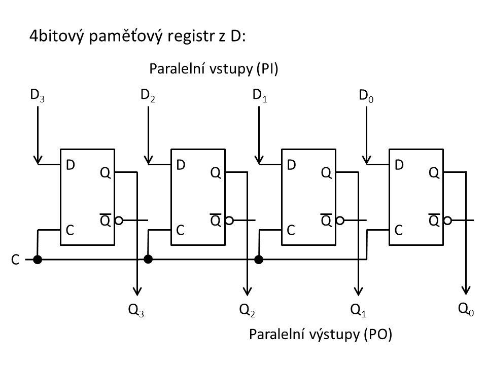 Příklad: Navrhněte 2bitový paměťový registr z klopných obvodů JK.