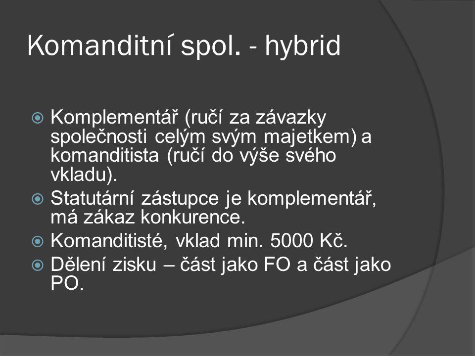 Komanditní spol. - hybrid  Komplementář (ručí za závazky společnosti celým svým majetkem) a komanditista (ručí do výše svého vkladu).  Statutární zá