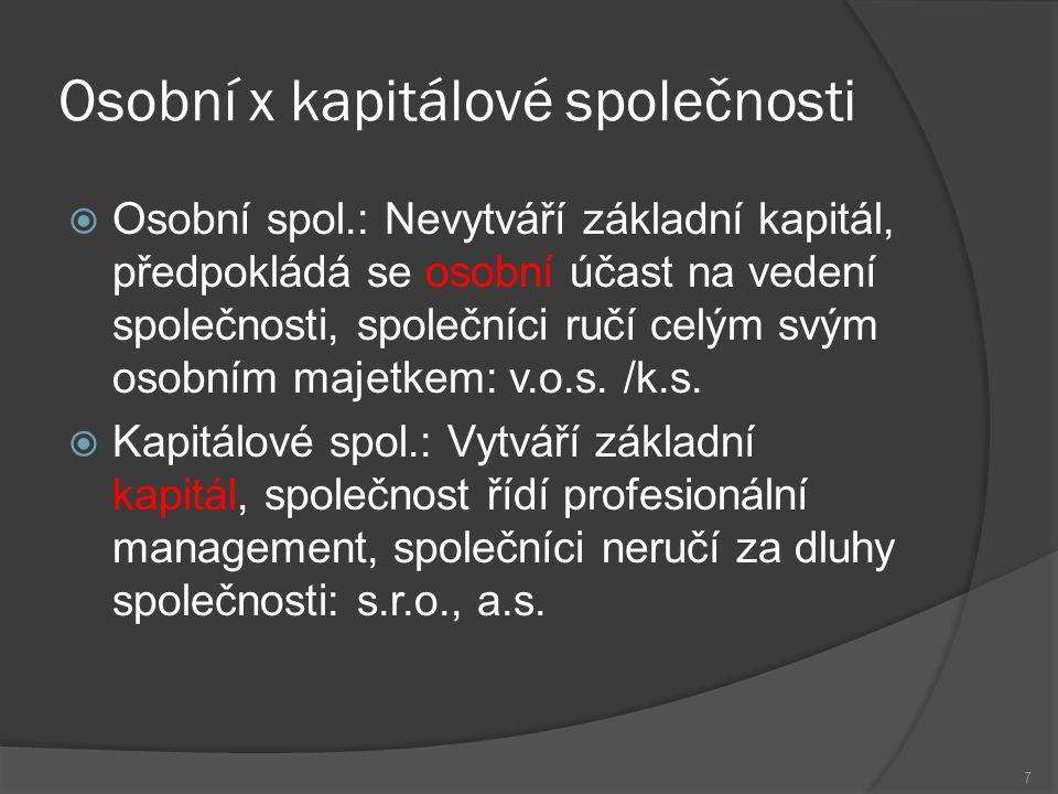 Osobní x kapitálové společnosti  Osobní spol.: Nevytváří základní kapitál, předpokládá se osobní účast na vedení společnosti, společníci ručí celým s