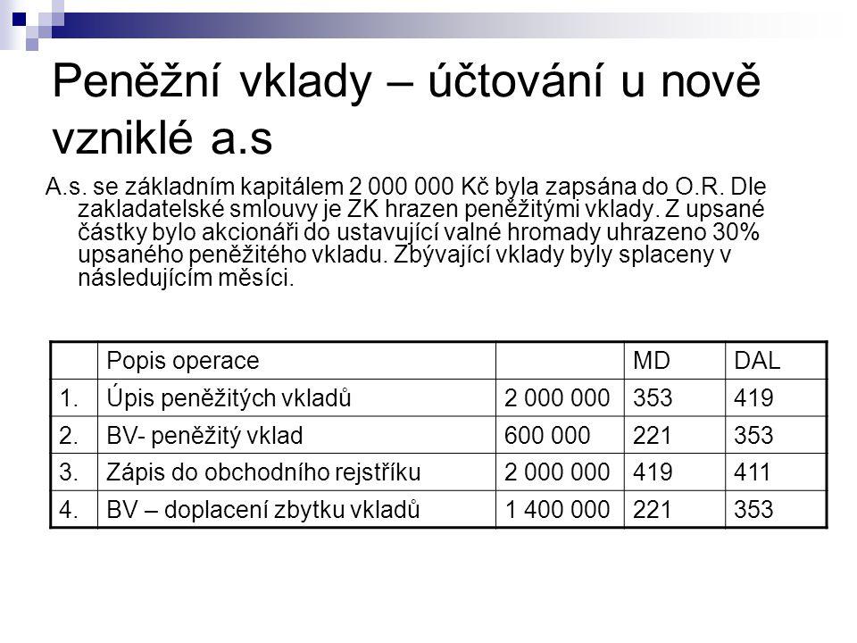 Peněžní vklady – účtování u nově vzniklé a.s A.s. se základním kapitálem 2 000 000 Kč byla zapsána do O.R. Dle zakladatelské smlouvy je ZK hrazen peně