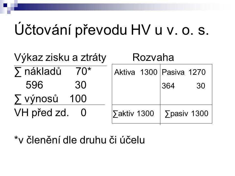 Účtování převodu HV u v.o. s.