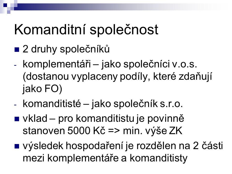 Komanditní společnost 2 druhy společníků - komplementáři – jako společníci v.o.s.