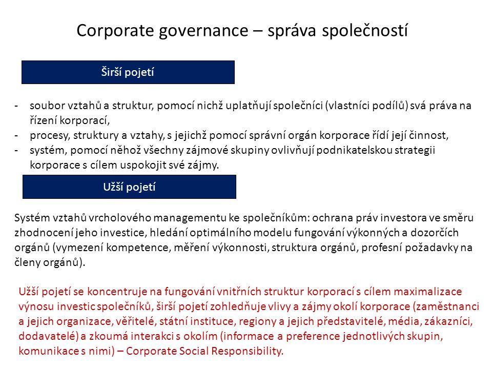 Corporate governance – správa společností Širší pojetí Užší pojetí -soubor vztahů a struktur, pomocí nichž uplatňují společníci (vlastníci podílů) svá práva na řízení korporací, -procesy, struktury a vztahy, s jejichž pomocí správní orgán korporace řídí její činnost, -systém, pomocí něhož všechny zájmové skupiny ovlivňují podnikatelskou strategii korporace s cílem uspokojit své zájmy.