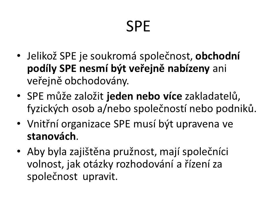 SPE Jelikož SPE je soukromá společnost, obchodní podíly SPE nesmí být veřejně nabízeny ani veřejně obchodovány. SPE může založit jeden nebo více zakla