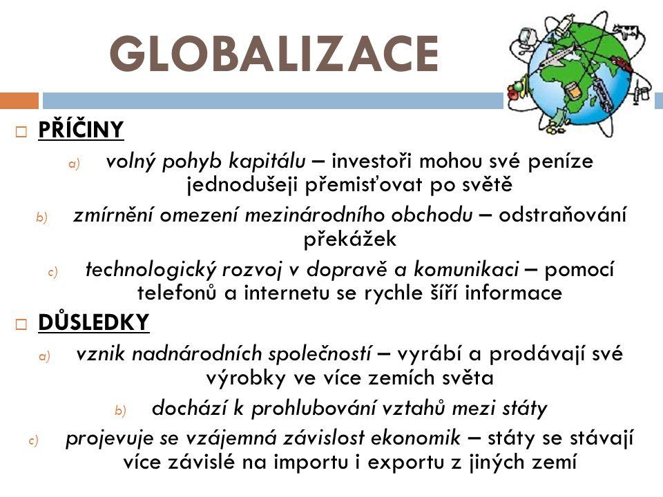 GLOBALIZACE  PŘÍČINY a) volný pohyb kapitálu – investoři mohou své peníze jednodušeji přemisťovat po světě b) zmírnění omezení mezinárodního obchodu – odstraňování překážek c) technologický rozvoj v dopravě a komunikaci – pomocí telefonů a internetu se rychle šíří informace  DŮSLEDKY a) vznik nadnárodních společností – vyrábí a prodávají své výrobky ve více zemích světa b) dochází k prohlubování vztahů mezi státy c) projevuje se vzájemná závislost ekonomik – státy se stávají více závislé na importu i exportu z jiných zemí