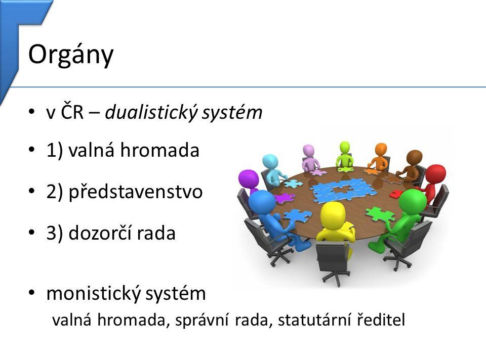 Orgány v ČR – dualistický systém 1) valná hromada 2) představenstvo 3) dozorčí rada monistický systém valná hromada, správní rada, statutární ředitel