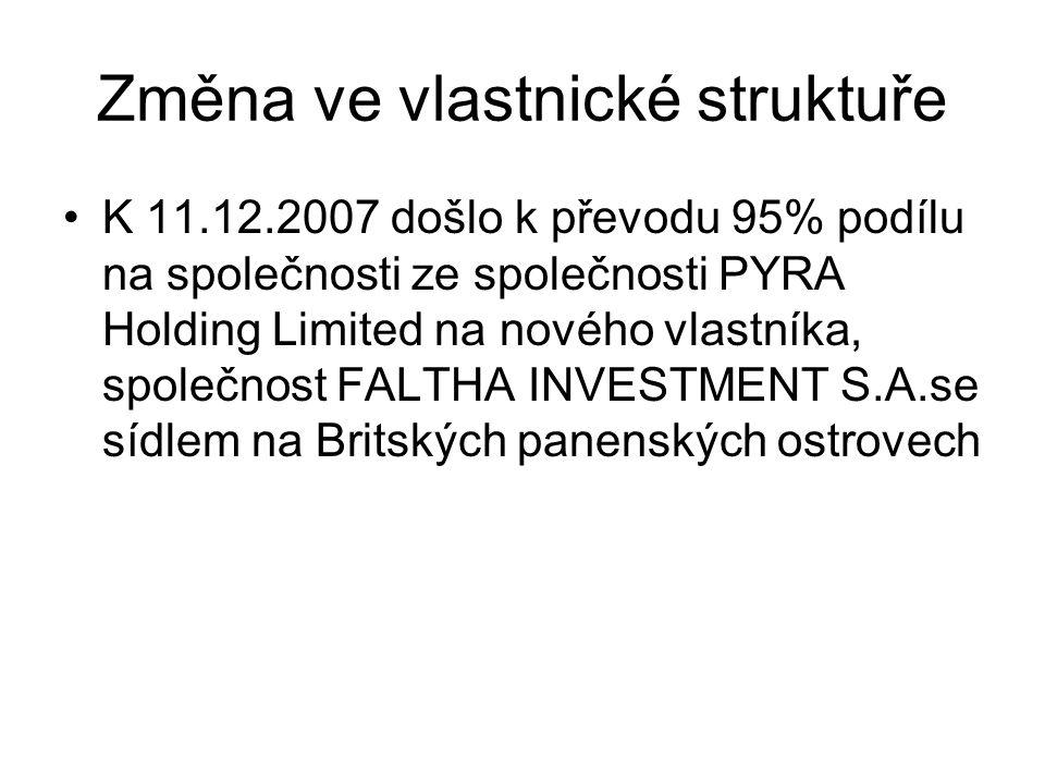 Změna ve vlastnické struktuře K 11.12.2007 došlo k převodu 95% podílu na společnosti ze společnosti PYRA Holding Limited na nového vlastníka, společnost FALTHA INVESTMENT S.A.se sídlem na Britských panenských ostrovech