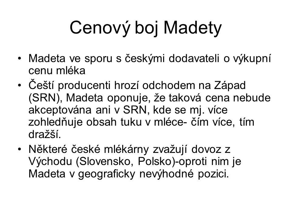 Cenový boj Madety Madeta ve sporu s českými dodavateli o výkupní cenu mléka Čeští producenti hrozí odchodem na Západ (SRN), Madeta oponuje, že taková cena nebude akceptována ani v SRN, kde se mj.