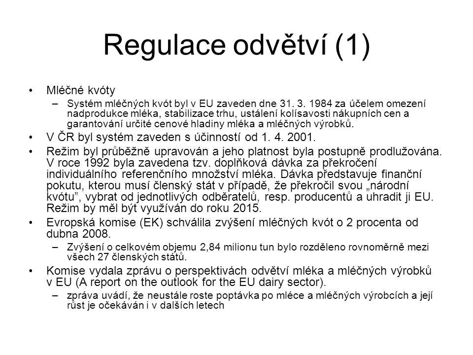 Regulace odvětví (1) Mléčné kvóty –Systém mléčných kvót byl v EU zaveden dne 31.
