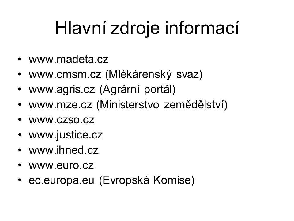 Hlavní zdroje informací www.madeta.cz www.cmsm.cz (Mlékárenský svaz) www.agris.cz (Agrární portál) www.mze.cz (Ministerstvo zemědělství) www.czso.cz www.justice.cz www.ihned.cz www.euro.cz ec.europa.eu (Evropská Komise)