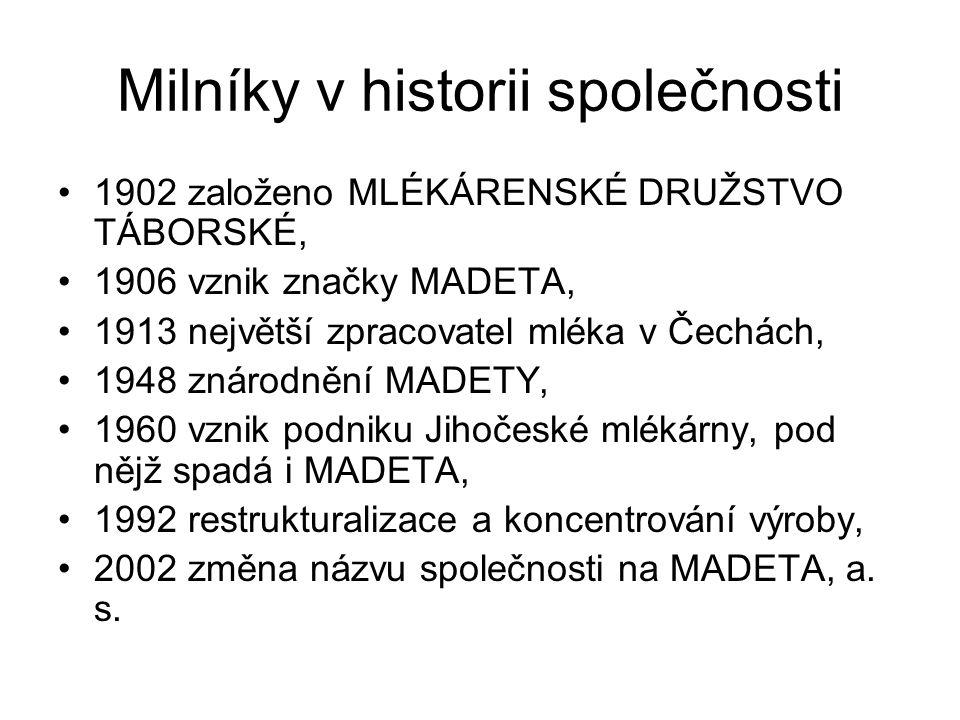 Milníky v historii společnosti 1902 založeno MLÉKÁRENSKÉ DRUŽSTVO TÁBORSKÉ, 1906 vznik značky MADETA, 1913 největší zpracovatel mléka v Čechách, 1948 znárodnění MADETY, 1960 vznik podniku Jihočeské mlékárny, pod nějž spadá i MADETA, 1992 restrukturalizace a koncentrování výroby, 2002 změna názvu společnosti na MADETA, a.