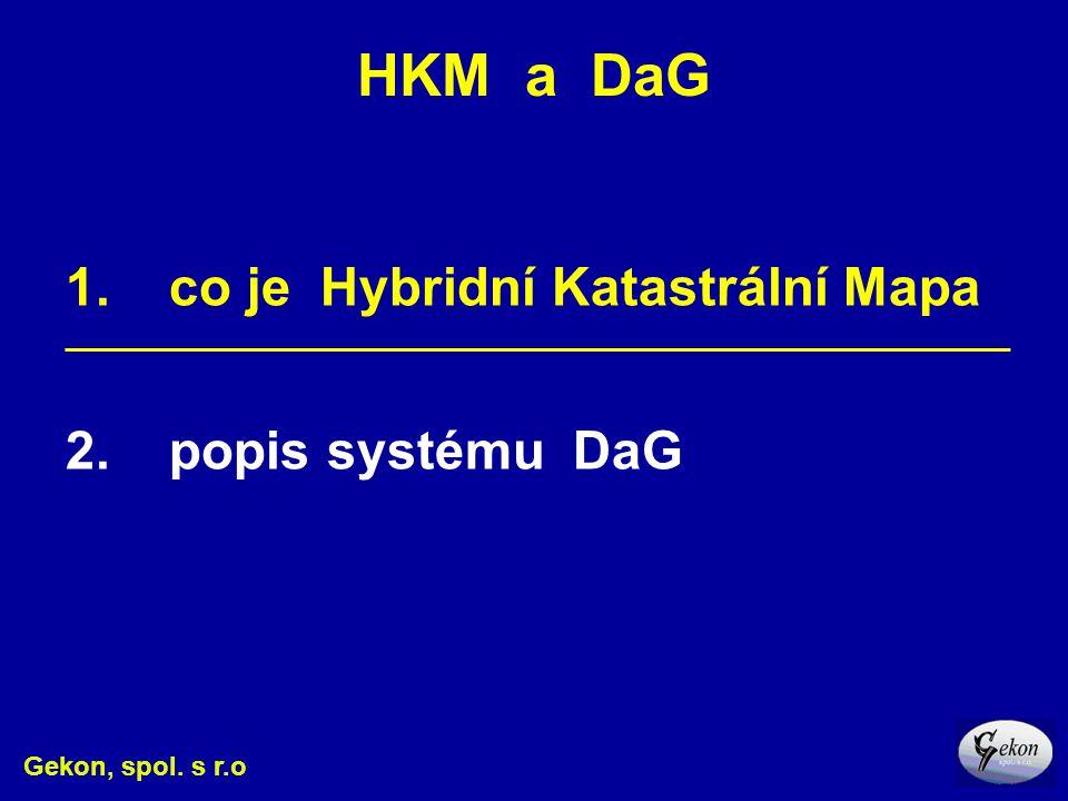 HKM a DaG Gekon, spol. s r.o 1. co je Hybridní Katastrální Mapa _________________________________________________________ 2. popis systému DaG