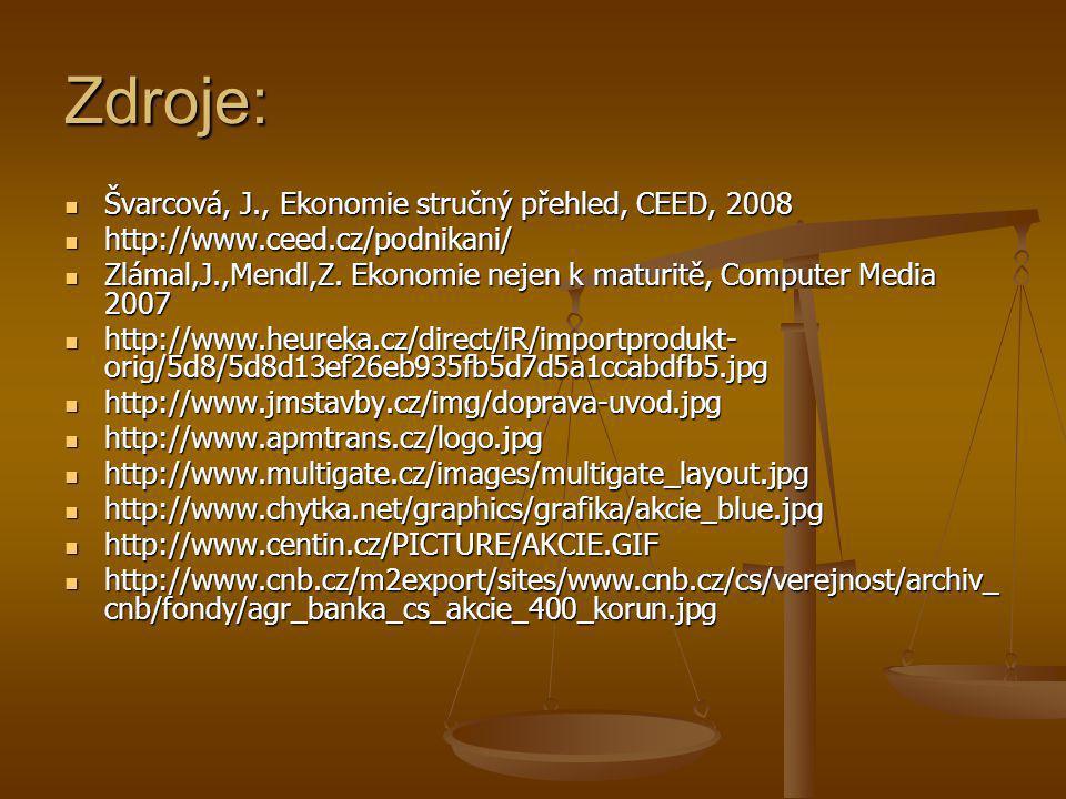 Zdroje: Švarcová, J., Ekonomie stručný přehled, CEED, 2008 Švarcová, J., Ekonomie stručný přehled, CEED, 2008 http://www.ceed.cz/podnikani/ http://www.ceed.cz/podnikani/ Zlámal,J.,Mendl,Z.