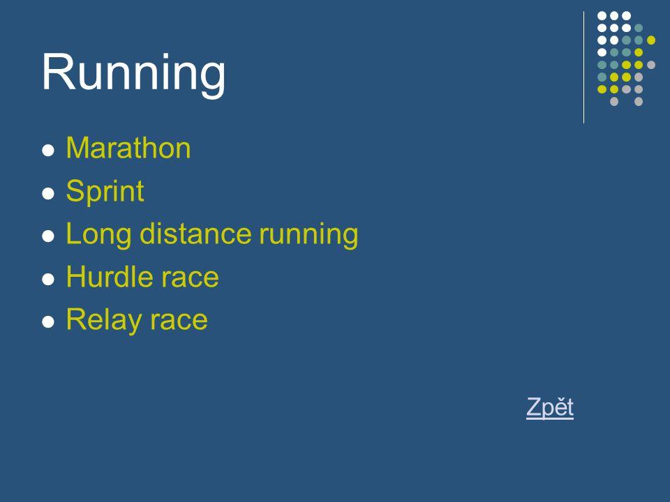 Running Marathon Sprint Long distance running Hurdle race Relay race Zpět