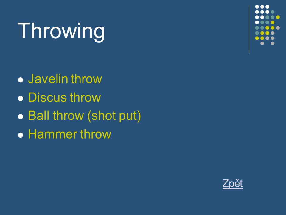 Throwing Javelin throw Discus throw Ball throw (shot put) Hammer throw Zpět