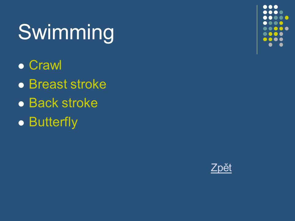 Swimming Crawl Breast stroke Back stroke Butterfly Zpět