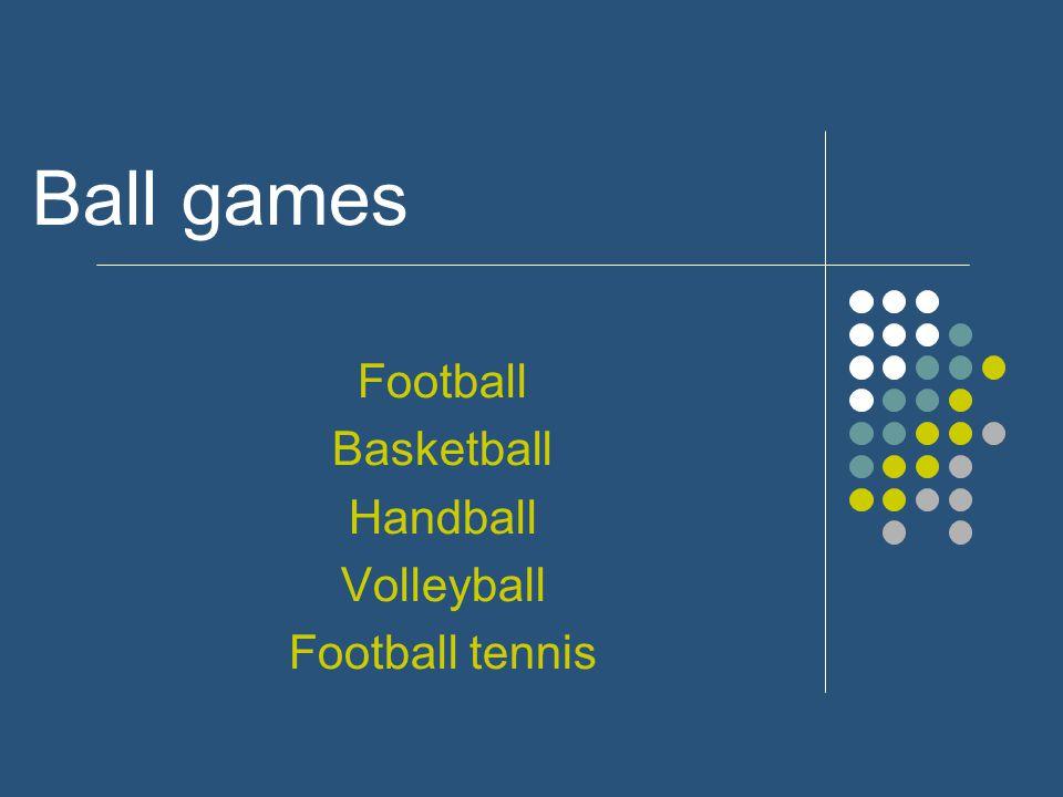 Ball games Football Basketball Handball Volleyball Football tennis