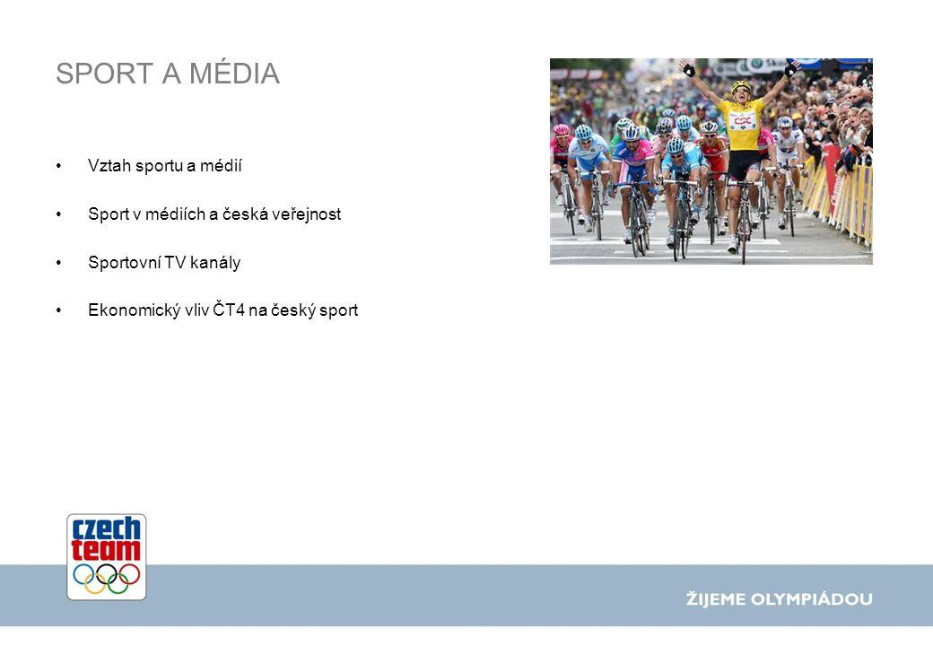 SPORT A MÉDIA Vztah sportu a médií Sport v médiích a česká veřejnost Sportovní TV kanály Ekonomický vliv ČT4 na český sport
