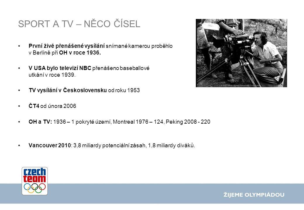 SPORT A TV – NĚCO ČÍSEL První živě přenášené vysílání snímané kamerou proběhlo v Berlíně při OH v roce 1936.