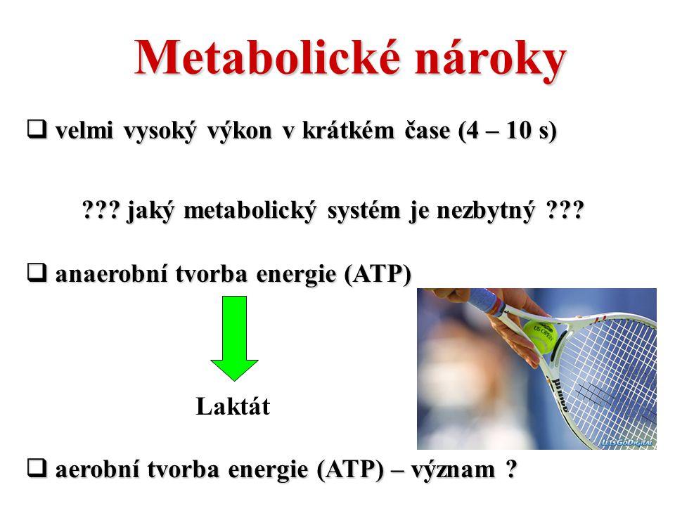 Metabolické nároky ??? jaký metabolický systém je nezbytný ???  velmi vysoký výkon v krátkém čase (4 – 10 s)  aerobní tvorba energie (ATP) – význam