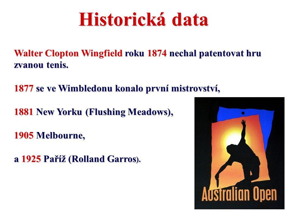 Historická data Walter Clopton Wingfield roku 1874 nechal patentovat hru zvanou tenis. 1877 se ve Wimbledonu konalo první mistrovství, 1881 New Yorku