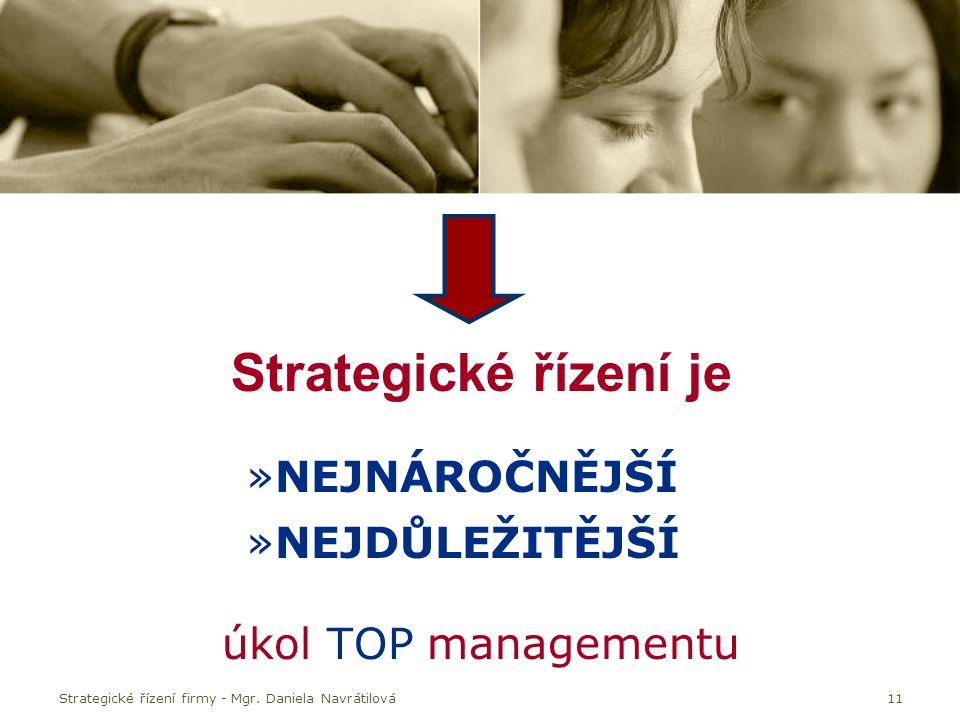 Strategické řízení firmy - Mgr. Daniela Navrátilová11 Strategické řízení je »NEJNÁROČNĚJŠÍ »NEJDŮLEŽITĚJŠÍ úkol TOP managementu
