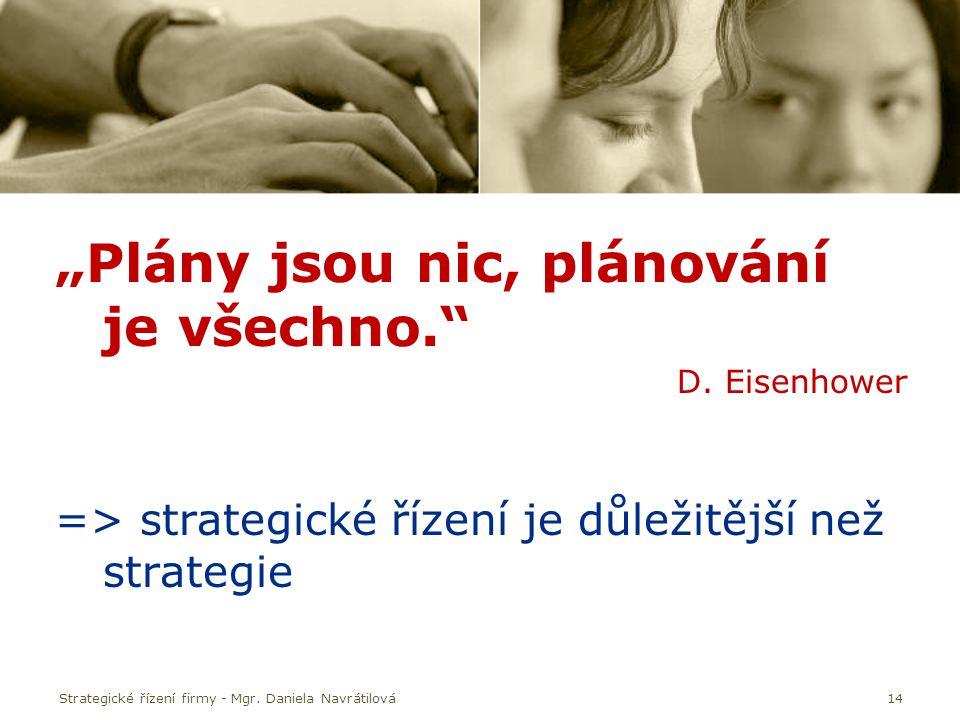"""Strategické řízení firmy - Mgr. Daniela Navrátilová14 """"Plány jsou nic, plánování je všechno."""" D. Eisenhower => strategické řízení je důležitější než s"""
