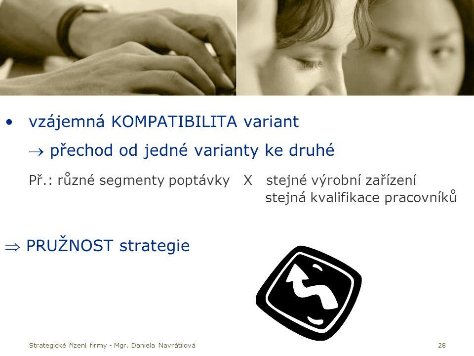 Strategické řízení firmy - Mgr. Daniela Navrátilová28 vzájemná KOMPATIBILITA variant  přechod od jedné varianty ke druhé Př.: různé segmenty poptávky