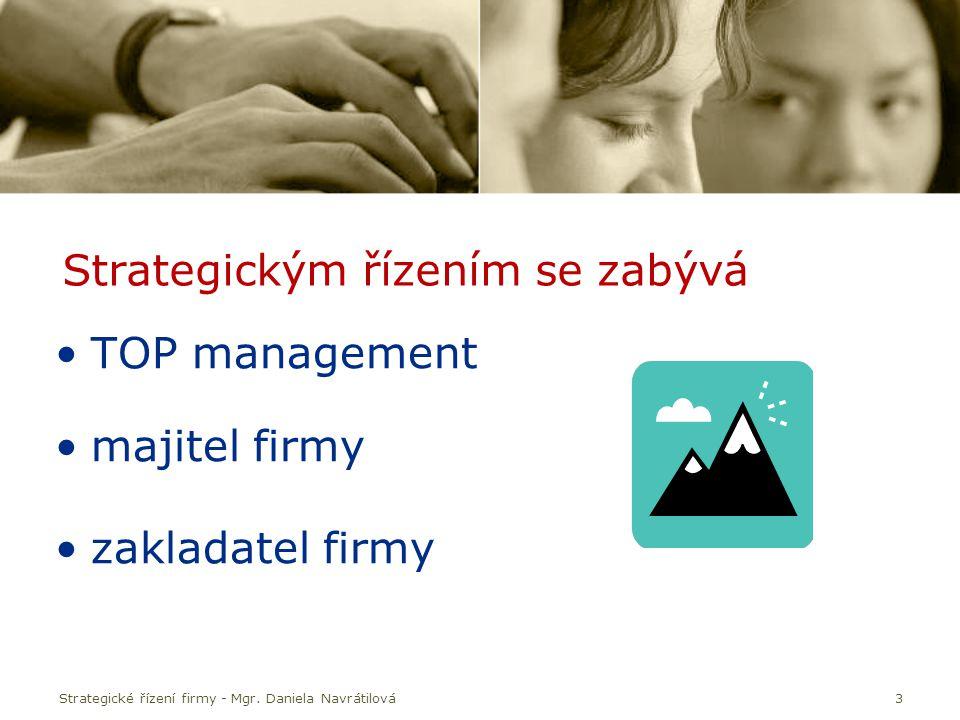 Strategické řízení firmy - Mgr. Daniela Navrátilová3 Strategickým řízením se zabývá TOP management majitel firmy zakladatel firmy