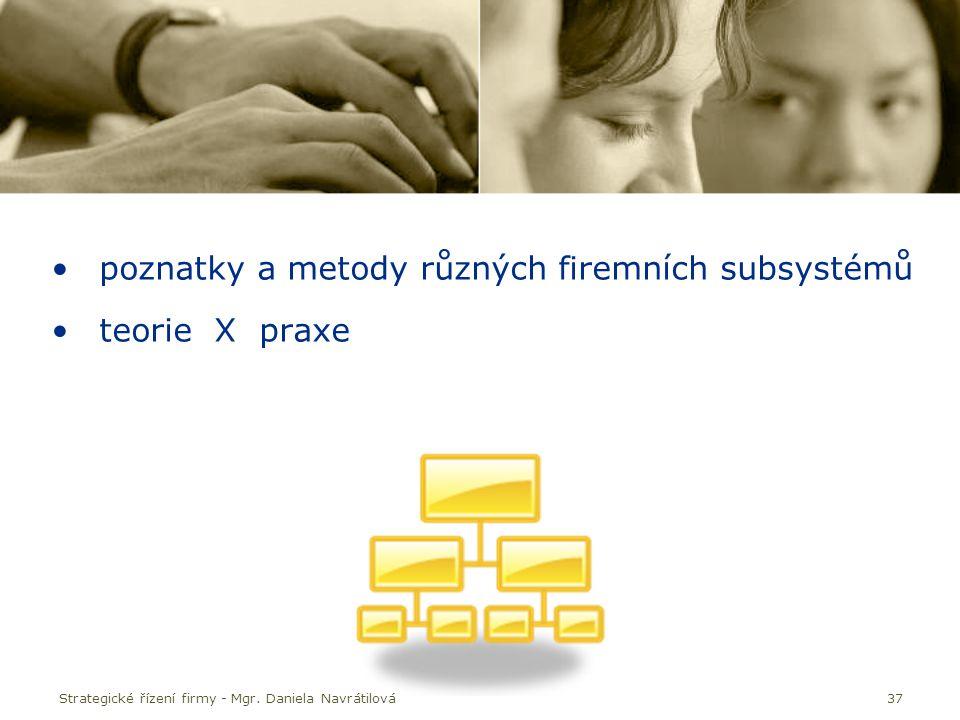 37 poznatky a metody různých firemních subsystémů teorie X praxe Strategické řízení firmy - Mgr. Daniela Navrátilová