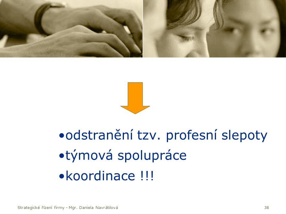 38 odstranění tzv. profesní slepoty týmová spolupráce koordinace !!! Strategické řízení firmy - Mgr. Daniela Navrátilová