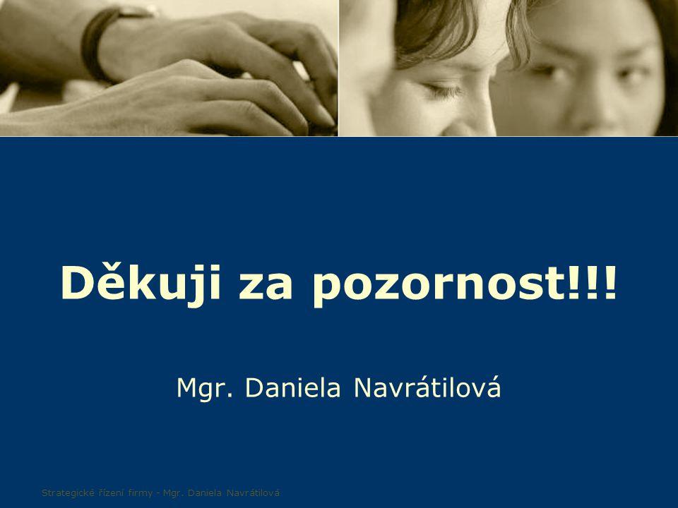50 Děkuji za pozornost!!! Mgr. Daniela Navrátilová Strategické řízení firmy - Mgr. Daniela Navrátilová