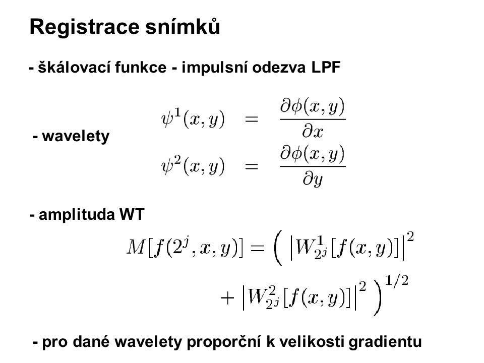 Registrace snímků - škálovací funkce - impulsní odezva LPF - wavelety - amplituda WT - pro dané wavelety proporční k velikosti gradientu