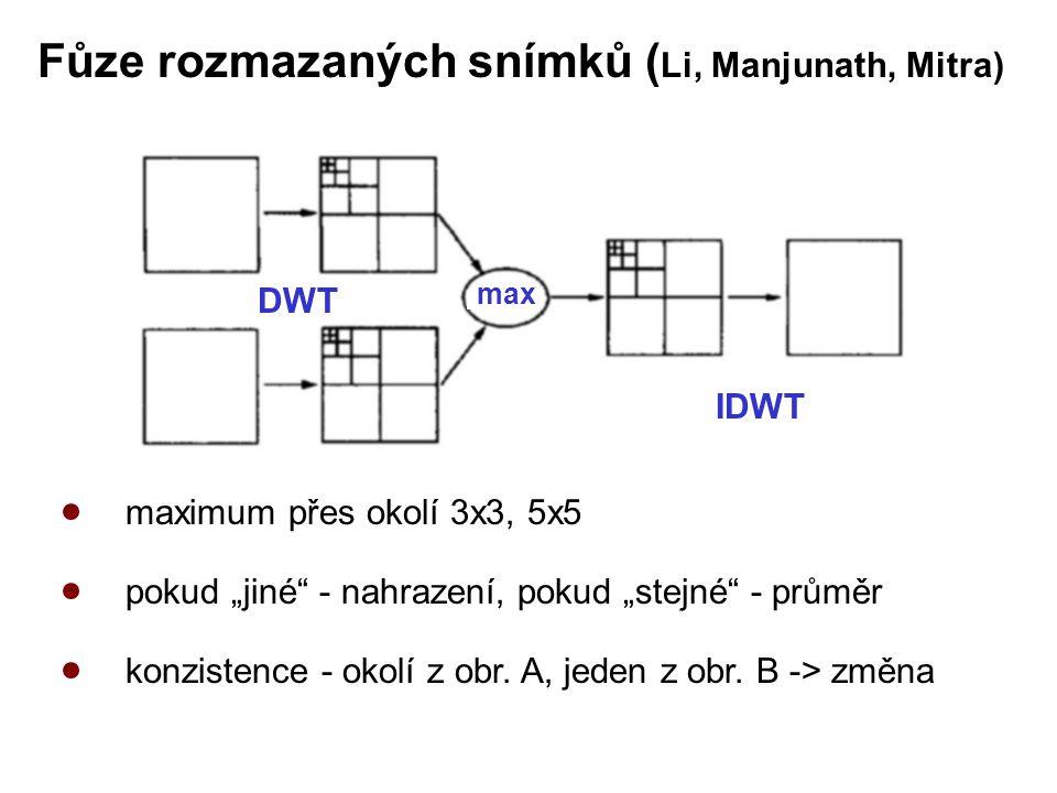 """DWT max IDWT Fůze rozmazaných snímků ( Li, Manjunath, Mitra) maximum přes okolí 3x3, 5x5 pokud """"jiné - nahrazení, pokud """"stejné - průměr konzistence - okolí z obr."""