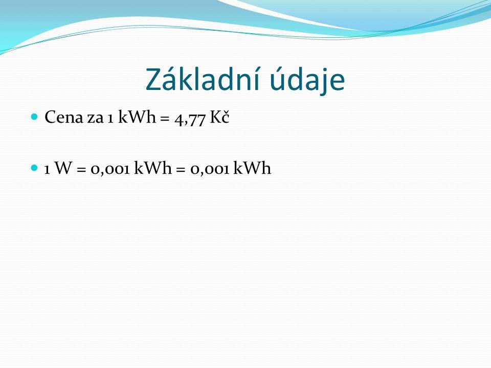 Základní údaje Cena za 1 kWh = 4,77 Kč 1 W = 0,001 kWh = 0,001 kWh