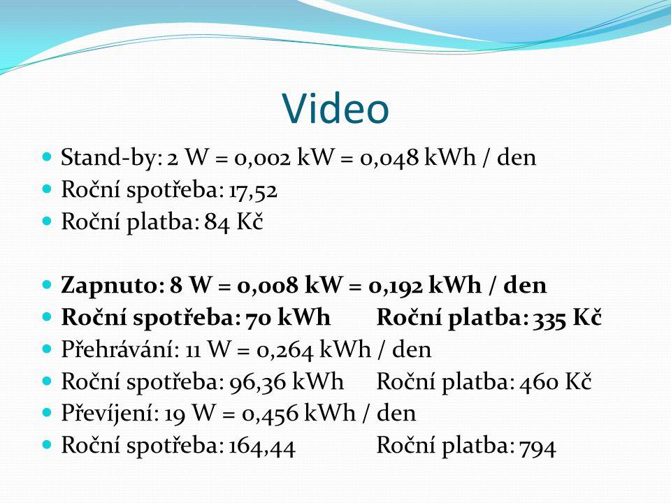 Video Stand-by: 2 W = 0,002 kW = 0,048 kWh / den Roční spotřeba: 17,52 Roční platba: 84 Kč Zapnuto: 8 W = 0,008 kW = 0,192 kWh / den Roční spotřeba: 70 kWhRoční platba: 335 Kč Přehrávání: 11 W = 0,264 kWh / den Roční spotřeba: 96,36 kWhRoční platba: 460 Kč Převíjení: 19 W = 0,456 kWh / den Roční spotřeba: 164,44Roční platba: 794