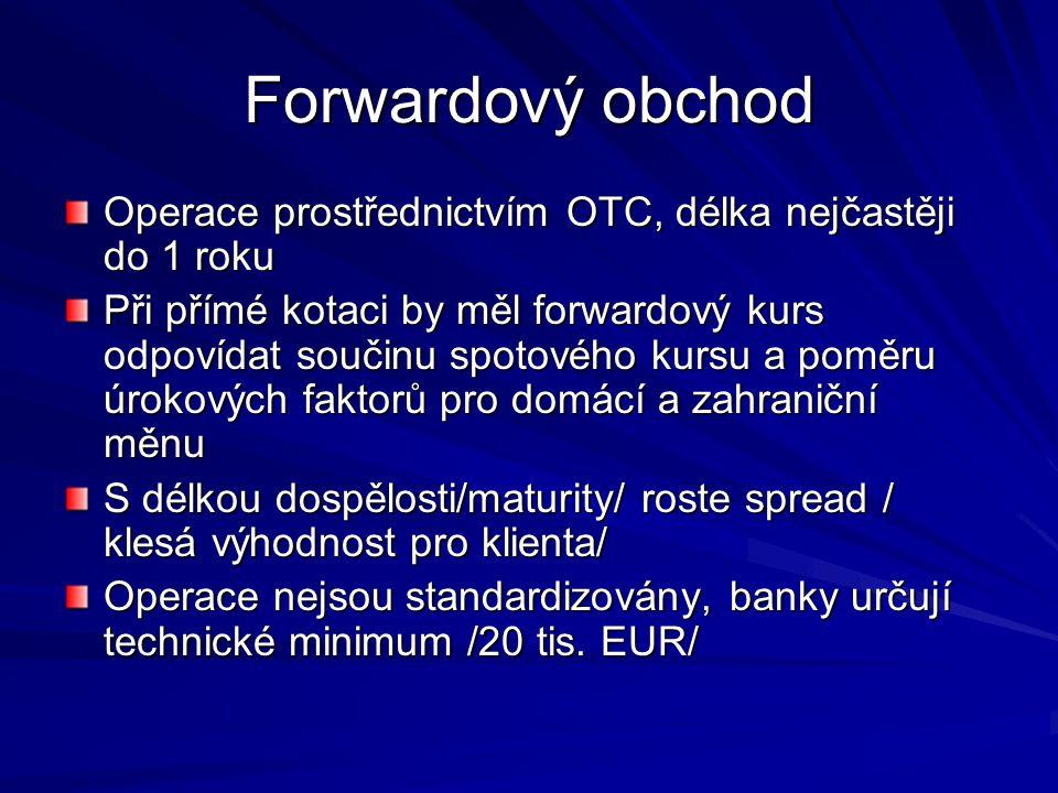 Měnový forward Měnový forward je nákup nebo prodej jedné měny za jinou měnu za kurz předem dohodnutý zúčastněnými stranami.