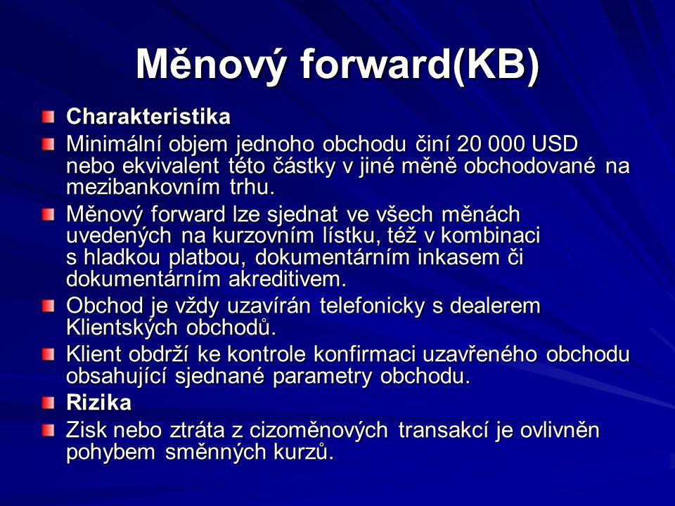 Měnový forward Příklad Klient s bankou uzavřel měnový forward.