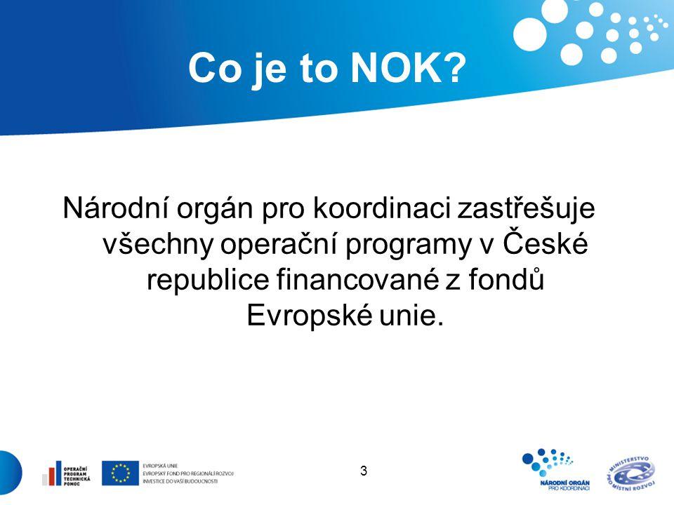 3 Co je to NOK? Národní orgán pro koordinaci zastřešuje všechny operační programy v České republice financované z fondů Evropské unie.