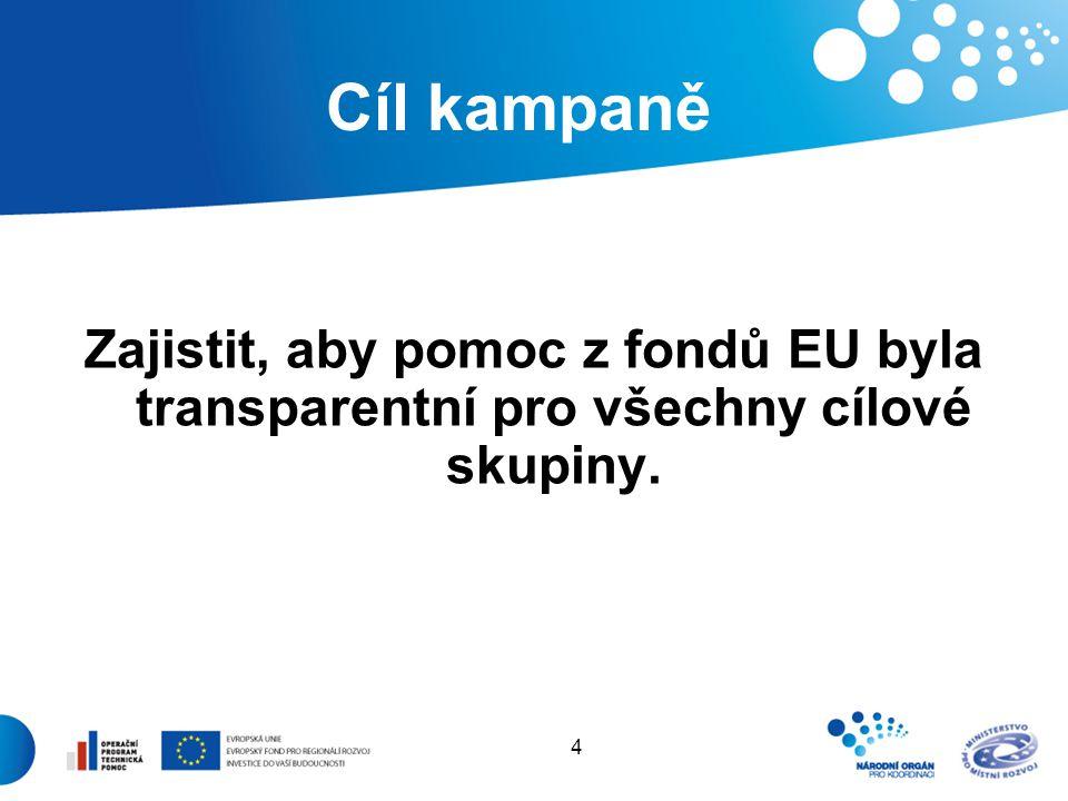 4 Cíl kampaně Zajistit, aby pomoc z fondů EU byla transparentní pro všechny cílové skupiny.