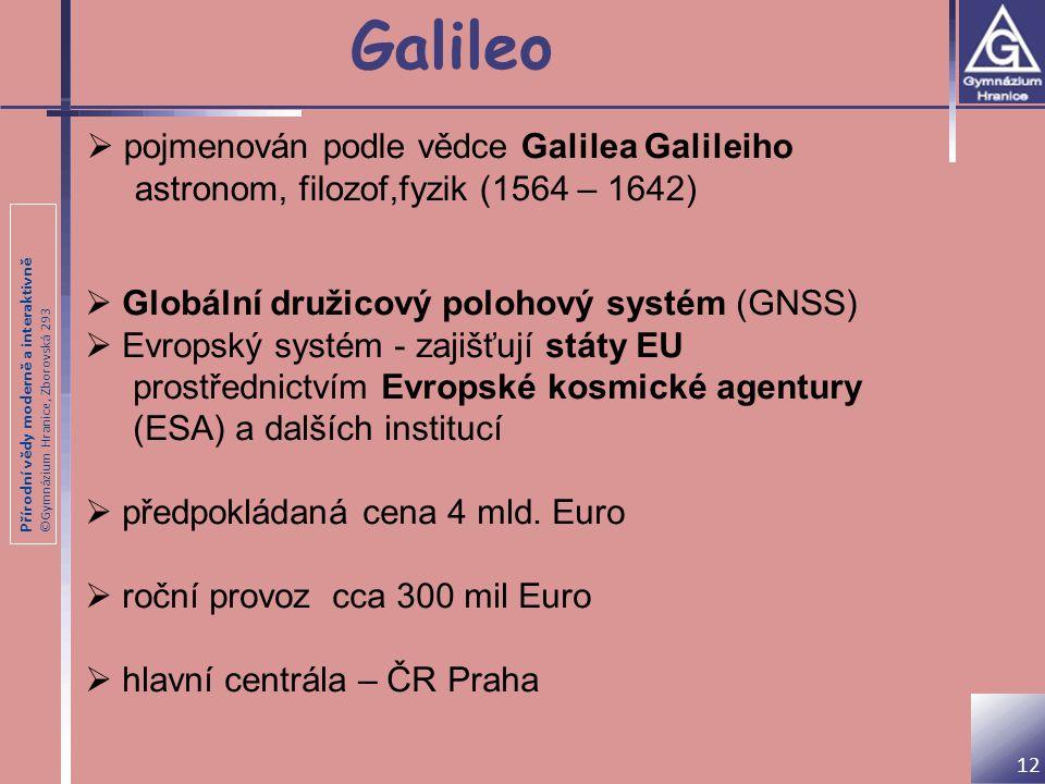Přírodní vědy moderně a interaktivně ©Gymnázium Hranice, Zborovská 293 Galileo 12  pojmenován podle vědce Galilea Galileiho astronom, filozof,fyzik (