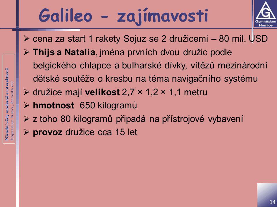 Přírodní vědy moderně a interaktivně ©Gymnázium Hranice, Zborovská 293 Galileo - zajímavosti 14  cena za start 1 rakety Sojuz se 2 družicemi – 80 mil