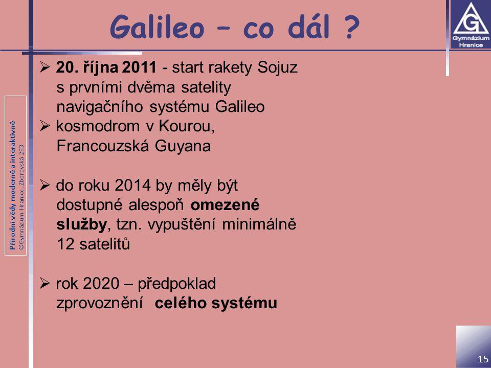 Přírodní vědy moderně a interaktivně ©Gymnázium Hranice, Zborovská 293 Galileo – co dál ? 15  20. října 2011 - start rakety Sojuz s prvními dvěma sat