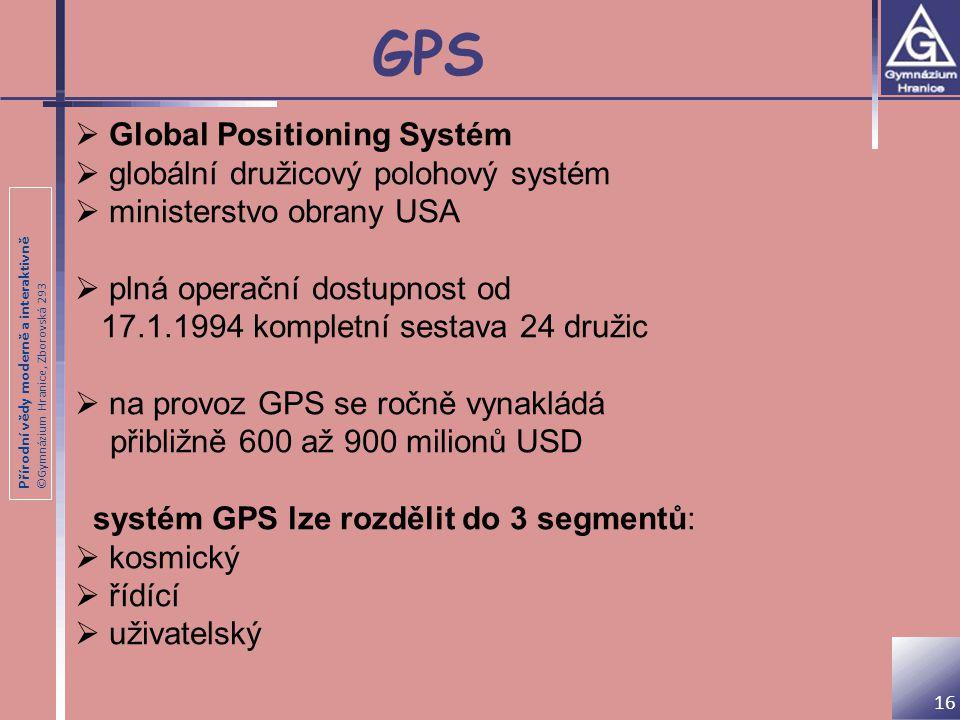 Přírodní vědy moderně a interaktivně ©Gymnázium Hranice, Zborovská 293 GPS 16  Global Positioning Systém  globální družicový polohový systém  minis