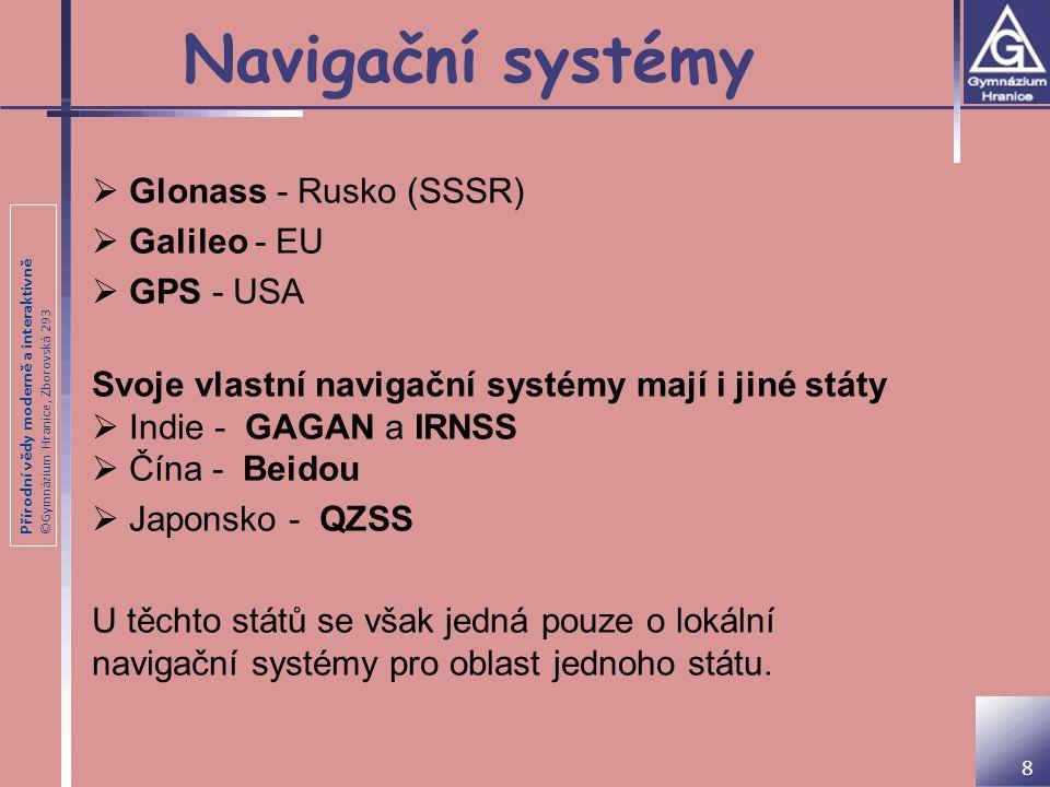 Přírodní vědy moderně a interaktivně ©Gymnázium Hranice, Zborovská 293 Navigační systémy 8  Glonass - Rusko (SSSR)  Galileo - EU  GPS - USA Svoje v