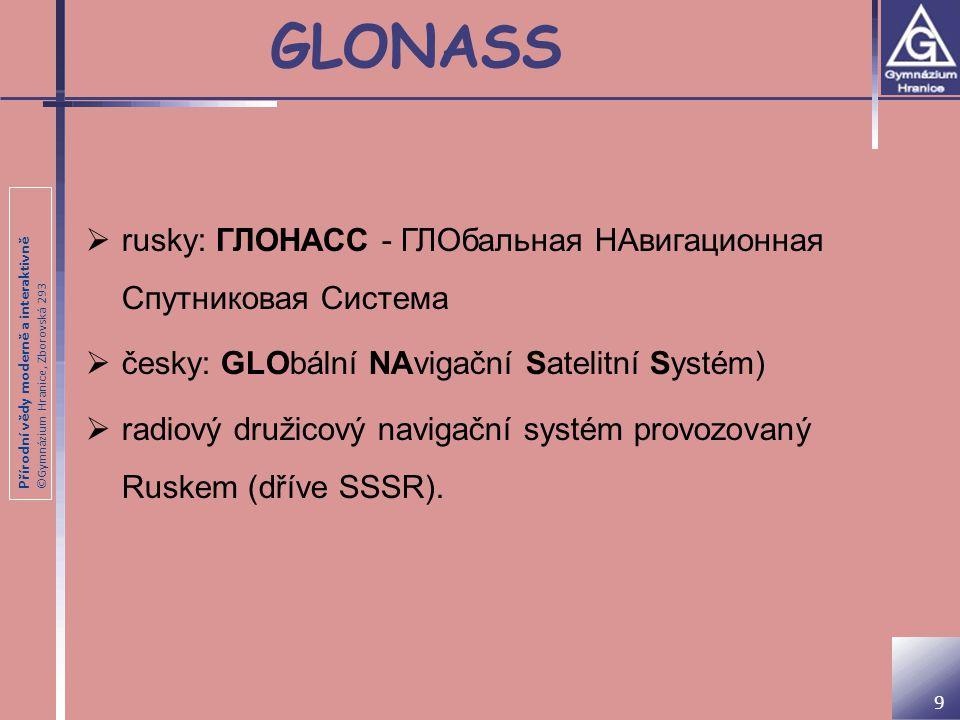 Přírodní vědy moderně a interaktivně ©Gymnázium Hranice, Zborovská 293 Historie a současnost  schválen v prosinci 1976  první dvě testovací a jedna provozní družice byly umístěny na oběžnou dráhu 12.