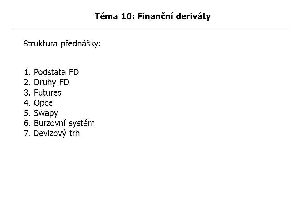 1.Podstata FD 2. Druhy FD 3. Futures 4. Opce 5. Swapy 6.